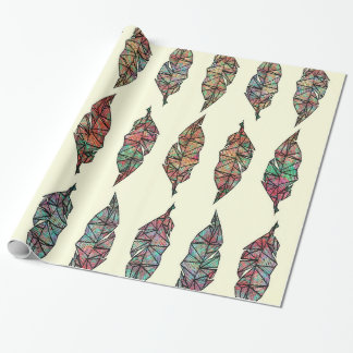 Colorful Watercolor Painted Geometric Feathers Wrapping Paper
