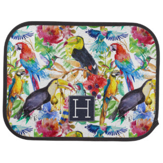 Colorful Watercolor Parrots | Add Your Initial Car Mat
