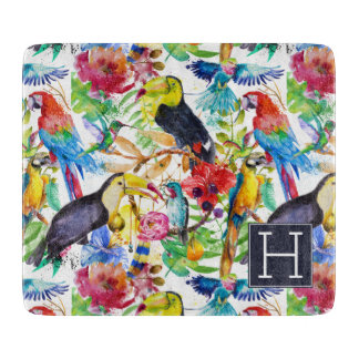 Colorful Watercolor Parrots | Add Your Initial Cutting Board