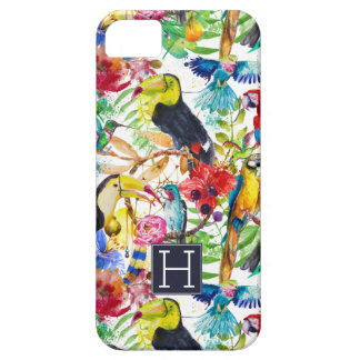 Colorful Watercolor Parrots | Add Your Initial iPhone 5 Cover