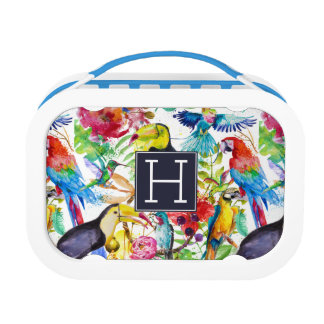 Colorful Watercolor Parrots | Add Your Initial Lunch Box