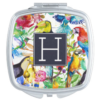 Colorful Watercolor Parrots   Add Your Initial Makeup Mirror
