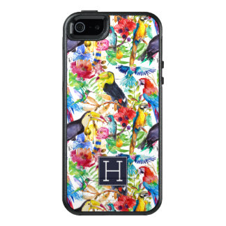 Colorful Watercolor Parrots | Add Your Initial OtterBox iPhone 5/5s/SE Case