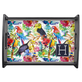 Colorful Watercolor Parrots | Add Your Initial Serving Tray