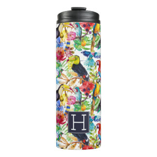 Colorful Watercolor Parrots | Add Your Initial Thermal Tumbler