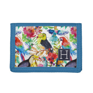 Colorful Watercolor Parrots | Add Your Initial Tri-fold Wallets