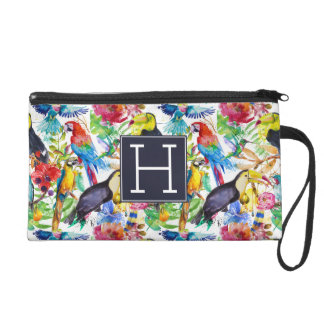Colorful Watercolor Parrots | Add Your Initial Wristlet