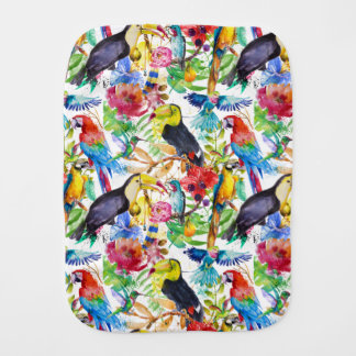 Colorful Watercolor Parrots Burp Cloth