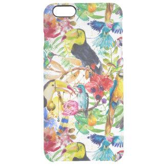 Colorful Watercolor Parrots Clear iPhone 6 Plus Case