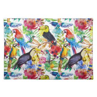 Colorful Watercolor Parrots Placemat