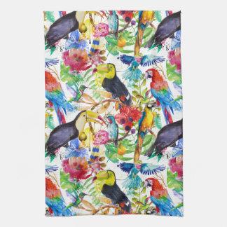 Colorful Watercolor Parrots Tea Towel