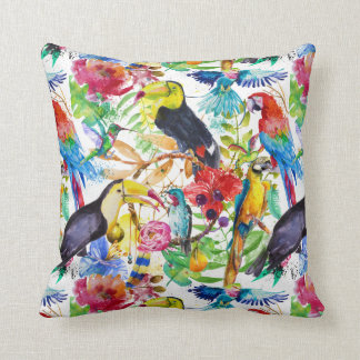Colorful Watercolor Parrots Throw Pillow