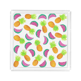colorful watercolor pineapple watermelon pattern acrylic tray