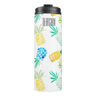 Colorful Watercolor pineapples Thermal Tumbler