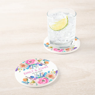 Colorful Watercolor Roses- Save The Date Coaster