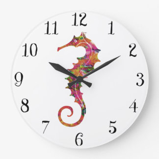 Colorful watercolor seahorse large clock