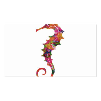Colorful watercolor seahorse pack of standard business cards