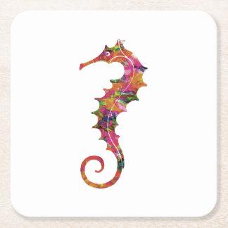 Colorful watercolor seahorse square paper coaster