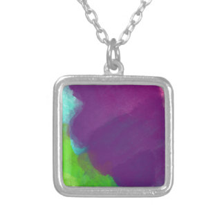 Colorful Watercolor Silver Plated Necklace