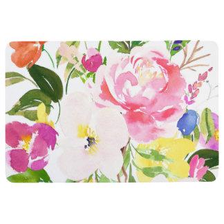Colorful Watercolor Spring Blooms Floral Floor Mat