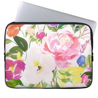 Colorful Watercolor Spring Blooms Floral Laptop Sleeve