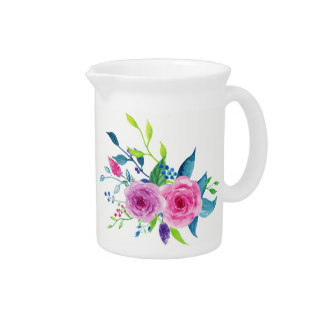 Colorful Watercolor Spring Flowers Pitcher