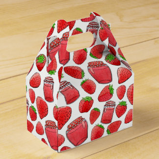 Colorful watercolor strawberries & jams favour box