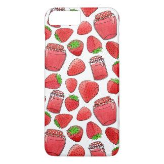 Colorful watercolor strawberries & jams iPhone 7 plus case