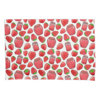 Colorful watercolor strawberries & jams pillowcase