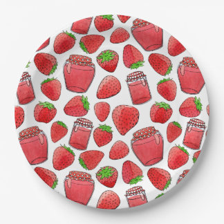 Colorful watercolor strawberries & jams plate