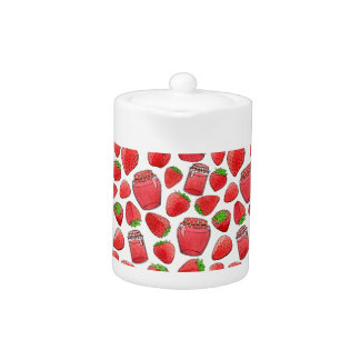 Colorful watercolor strawberries & jams teapot