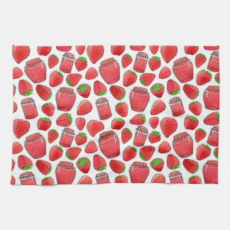 Colorful watercolor strawberries & jams towel