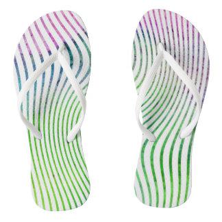 Colorful watercolor stripe swirl flip flops