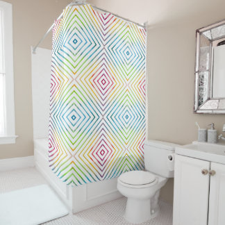 Colorful watercolor striped geometric shower curtain