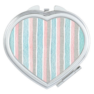Colorful Watercolor Stripes Travel Mirror