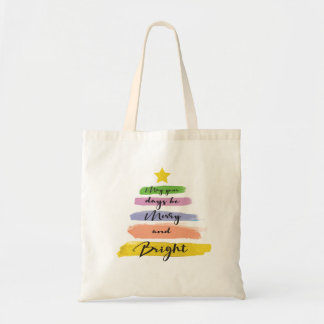 Colorful Watercolor Strokes, Christmas Tree Tote Bag