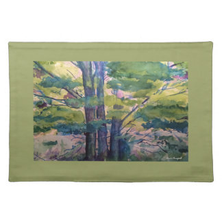 Colorful Watercolor Trees Art Green Placemat