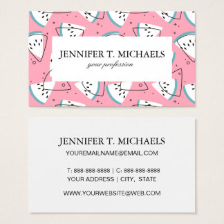 Colorful Watercolor Watermelons Business Card