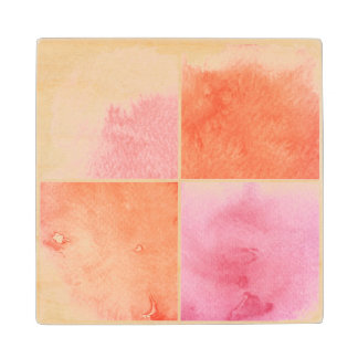 colorful watercolor wood coaster