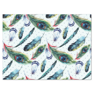 Colorful WatercolorPheasant Feathers Pattern Tissue Paper