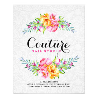 Colorful Watercolors Floral Bouquet Frame Flyer