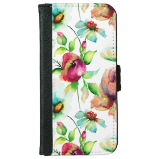 Colorful Watercolors Floral Illustration 2 iPhone 6 Wallet Case