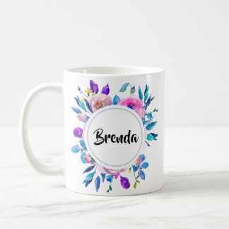 Colorful Watercolors Flowers Bouquet With Monogram Coffee Mug