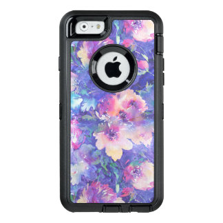 Colorful Watercolors Flowers Pattern OtterBox Defender iPhone Case