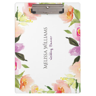 Colorful Watercolors Flowers Wedding Wreath Clipboard