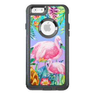 Colorful Watercolors Tropical Flowers & Flamingos OtterBox iPhone 6/6s Case