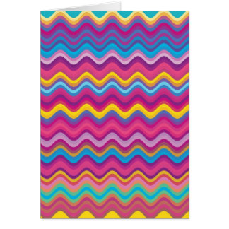 Colorful Wave Zig Zag Pattern Greeting Card