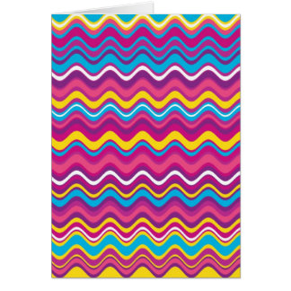 Colorful Wave Zig Zag Stripes Pattern Greeting Card