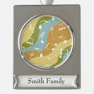 Colorful waves of Music Notes Silver Plated Banner Ornament