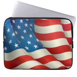 Colorful Waving U.S. Flag Laptop Sleeve